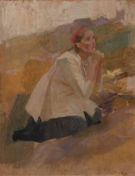 Painting - Albert Edelfelt Study Of Mary Magdalene by Albert Edelfelt