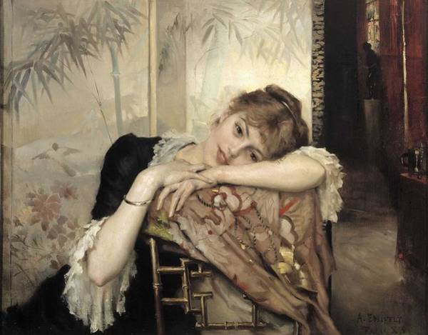 Wall Art - Painting - Albert Edelfelt - The Parisienne by Celestial Images