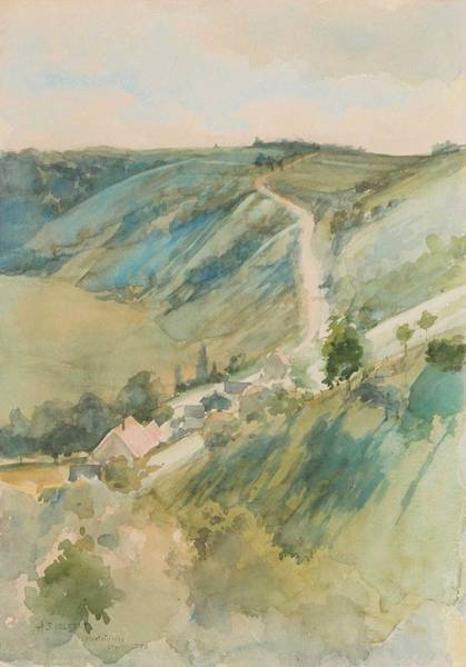 Painting - Albert Edelfelt, Watercolour,   1888. Landscape From France by Albert Edelfelt