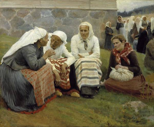 Wall Art - Painting - Albert Edelfelt - Women Outside The Church At Ruokolahti by Celestial Images