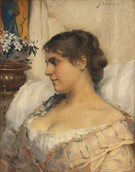 Wall Art - Painting - Albert Edelfelt-young Woman In His Boudoir 1879 by Albert Edelfelt