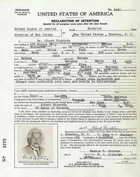 Wall Art - Photograph - Albert Einstein Declaration Of Intent To Emigrate To America 1936 by Daniel Hagerman