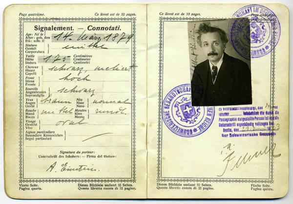 Wall Art - Photograph - Albert Einstein Swiss Passport 1923 by Daniel Hagerman