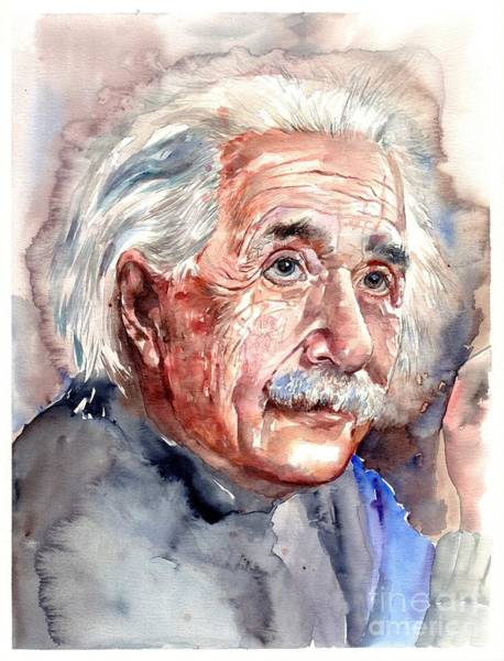 Experiment Wall Art - Painting - Albert Einstein Portrait by Suzann Sines