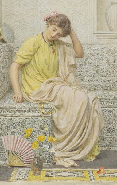 Painting - Albert Joseph Moore A.r.w.s. 1841-1893 British Hairpins by Albert Joseph Moore