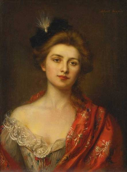 Wall Art - Painting - Albert Lynch Peruvian, 1851-1912,  Woman In A Red Embroidered Shawl by Albert Lynch