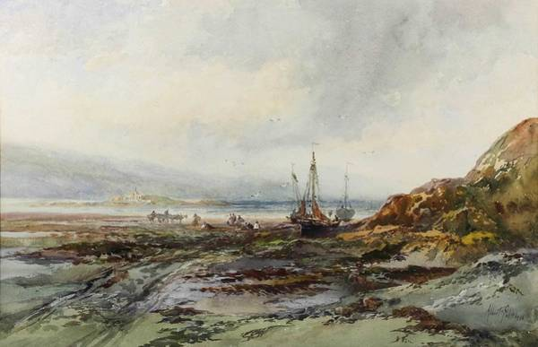 Painting - Albert Pollitt 1856-1926 - Four Watercolours - Coastal Scene With Fishing Boats Drawn Up On To The by Albert Pollitt