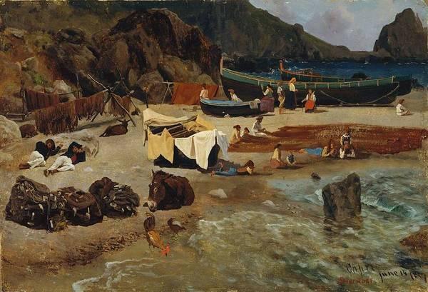 Delivery Truck Painting - Albert_bierstadt_-_fishing_boats_at_capri by Albert Bierstadt