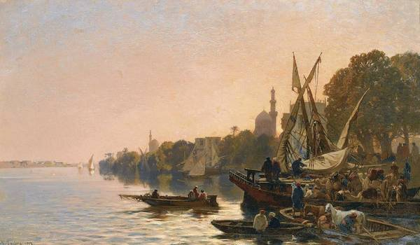 Wall Art - Painting - Alberto Pasini 1826 - 1899 A Ferry On The Nile 1861 by Alberto Pasini