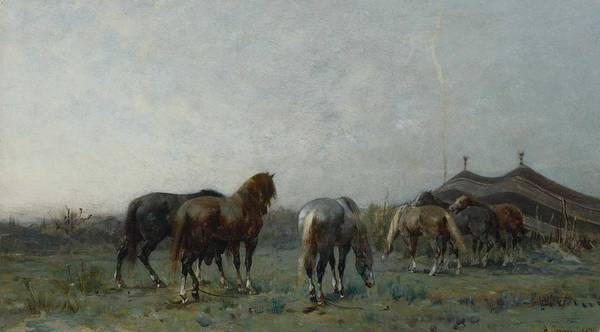 Wall Art - Painting - Alberto Pasini 1826 - 1899 Italian An Arab Encampment by Celestial Images