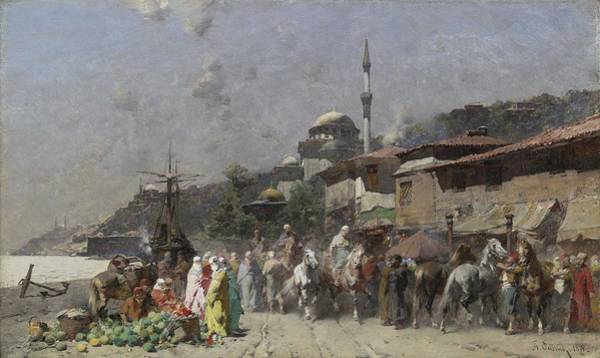 Painting - Alberto Pasini - Marketplace On The Bosporus, Constantinople And The New Mosque Beyond 1871 by Alberto Pasini