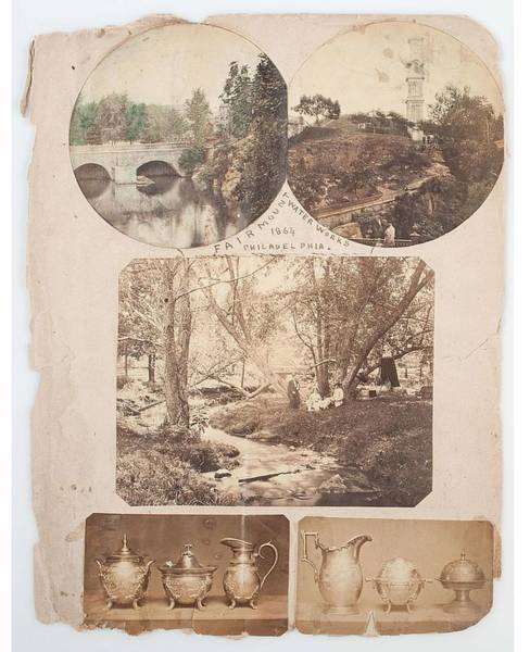 Wall Art - Painting - Album Page With Nine Photos Tipped In One Page Includes Two Views Of The  Fairmount Water Works   1 by Celestial Images