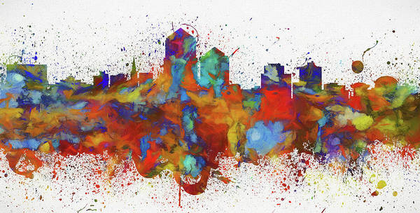 Wall Art - Painting - Albuquerque Colorful Skyline by Dan Sproul