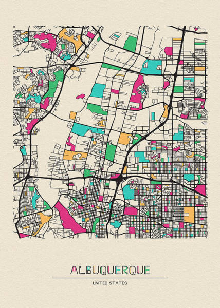 Wall Art - Drawing - Albuquerque, New Mexico City Map by Inspirowl Design