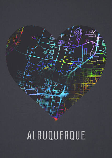 Wall Art - Mixed Media - Albuquerque New Mexico Usa City Street Map Heart Love Dark Mode by Design Turnpike