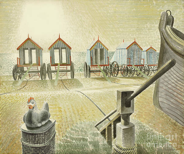 Wall Art - Painting - Aldeburgh Bathing Machines, 1938 by Eric Ravilious