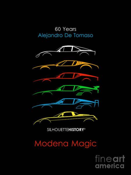 Wall Art - Digital Art - Alejandro's Sports Car 60 Silhouettehistory by Gabor Vida