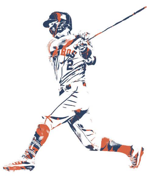 Wall Art - Mixed Media - Alex Bregman Houston Astros Pixel Art 11 by Joe Hamilton