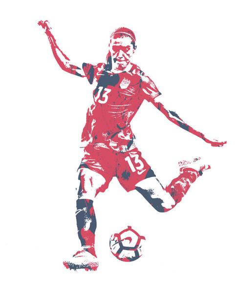 Wall Art - Mixed Media - Alex Morgan Usa Soccer Pixel Art 2 by Joe Hamilton