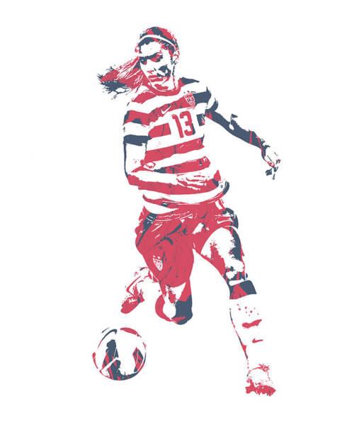 Wall Art - Mixed Media - Alex Morgan Usa Soccer Pixel Art 4 by Joe Hamilton