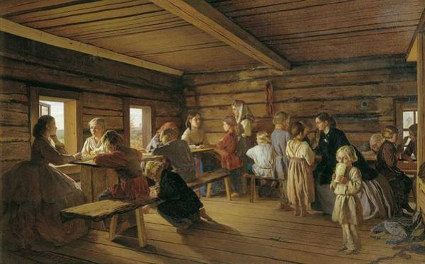 Wall Art - Painting - Alexander Ivanovich Morozov - Rural Free School by Alexander Ivanovich Morozov