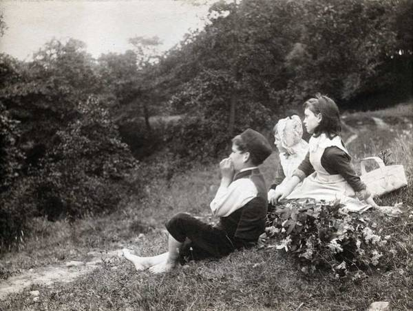 Wall Art - Painting - Alexander Keighley - Children On A Picnic, Ca 1890 by Alexander Keighley