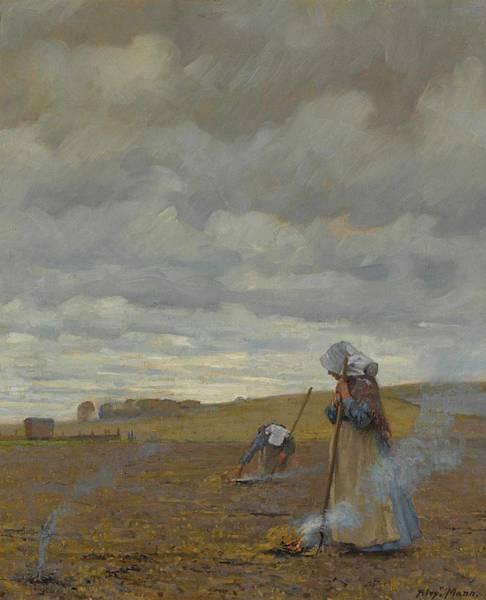 Wall Art - Painting - Alexander Mann, Field Burning by Alexander Mann
