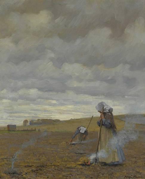 Wall Art - Painting - Alexander Mann, R.o.i. 1853-1908 Burning Weeds by Alexander Mann