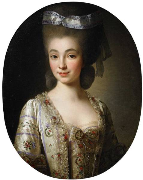 Wall Art - Painting - Alexander Roslin 1718-1793 Portrait Of Young Nobility Dam In Pearl Gray Dressed In Silk With Flower  by Alexander Roslin