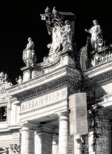 Photograph - Alexander Vii Coat Of Arms On The Colonnades At Saint Peter's Basilica by John Rizzuto
