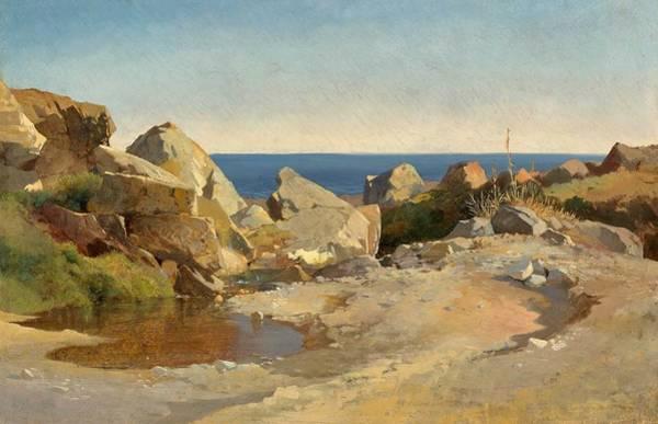 Wall Art - Painting - Alexandre Calame Vevey 1810 - 1864 Menton Bords De Mer A Cannes - Rocky Shore Near Cannes, 1858-60 by Alexandre Calame