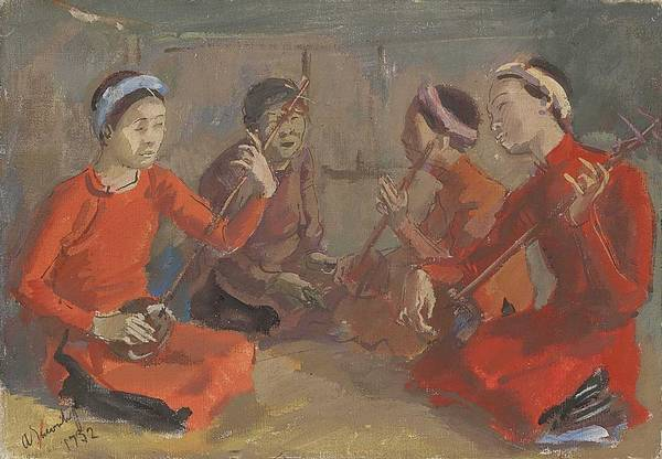 Wall Art - Painting - Alexandre Iacovleff 1887-1938 An Intimate Concert In Hu , Indo-china by Alexandre Iacovleff