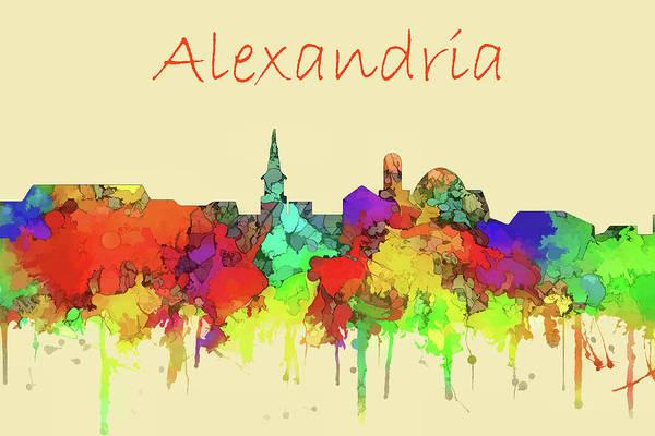 Wall Art - Digital Art - Alexandria City Skyline Watercolor by Marlene Watson