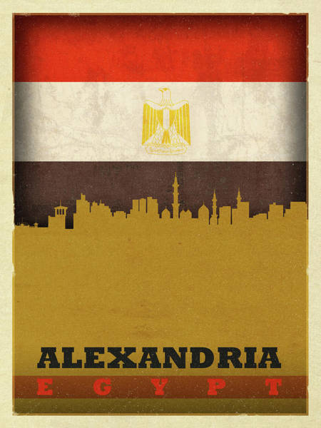 Wall Art - Mixed Media - Alexandria Egypt World City Flag Skyline by Design Turnpike