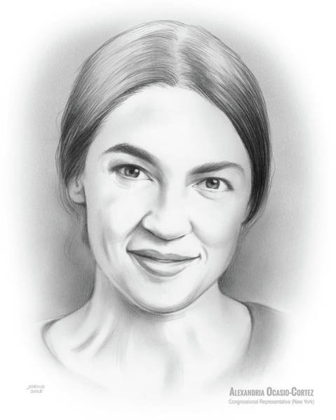 Wall Art - Drawing - Alexandria Ocasio-cortez by Greg Joens