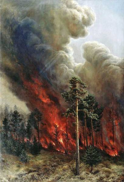 Wall Art - Painting - Alexei Denisov Kuzmich - Wildfire by Alexei Denisov Kuzmich