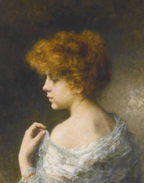 Wall Art - Painting - Alexei Harlamoff,  Portraif Of A Young Girl 23 by Alexei Harlamoff
