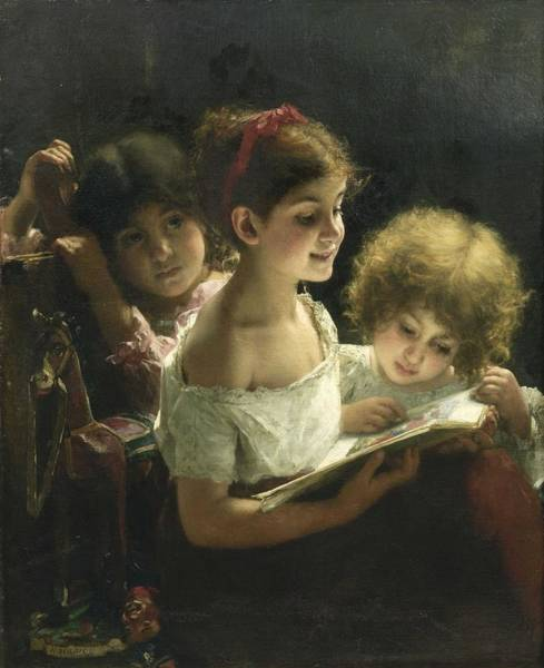 Wall Art - Painting - Alexei Harlamoff,  Portraif Of Children Singing by Celestial Images