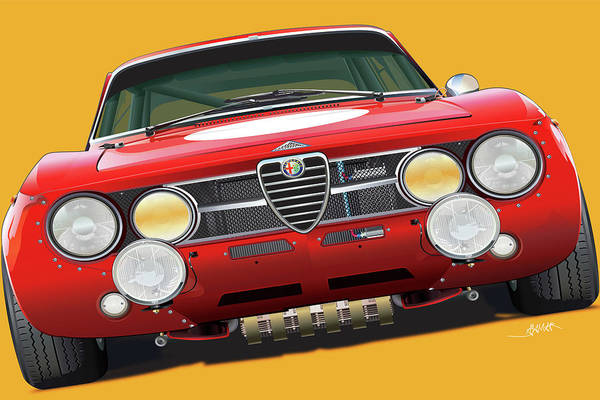 Wall Art - Digital Art - Alfa Romeo Gtam On Yellow by Alain Jamar