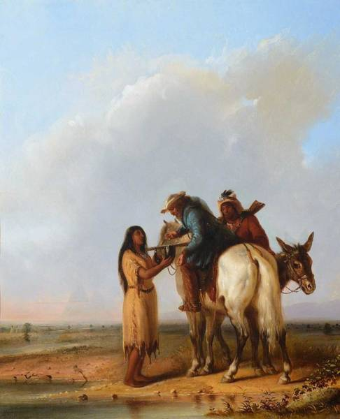 Wall Art - Painting - Alfred Jacob Miller  1810-1874  The Thirsty Trapper  1850  by Celestial Images