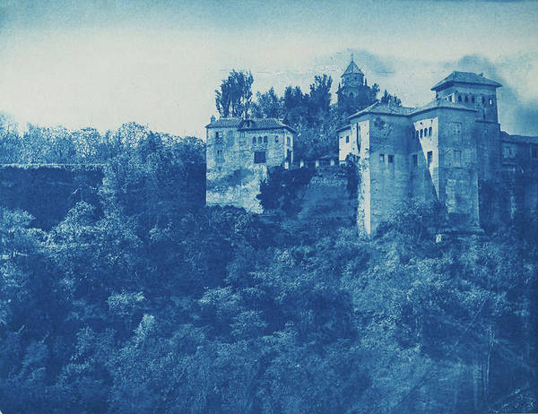 Painting - Alhambra, Granada, Spain, Cyanotype Part Of The Alhambra Palace Area In Granada In Andalusia. 1878 by Celestial Images