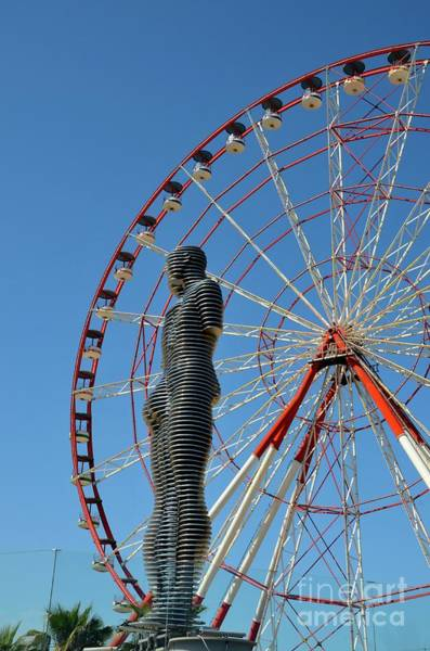 Photograph - Ali And Nino Love Story Art Statue With Ferris Wheel Batumi Georgia by Imran Ahmed
