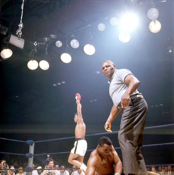 Photograph - Ali Celevrates As Liston Struggles by John Dominis