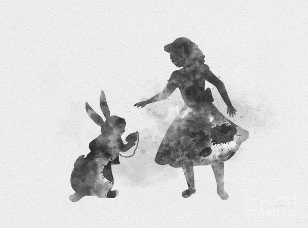Wall Art - Mixed Media - Alice And White Rabbit Black And White by My Inspiration