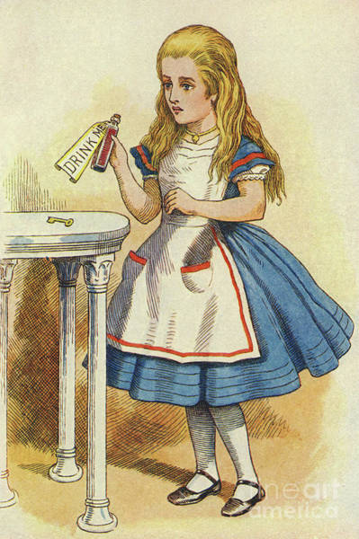 Wall Art - Drawing - Alice Discovers A Bottle Marked Drink Me by John Tenniel