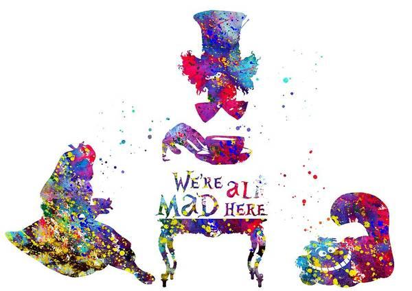 Wall Art - Digital Art - Alice In Wonderland, Tea Time by Erzebet S