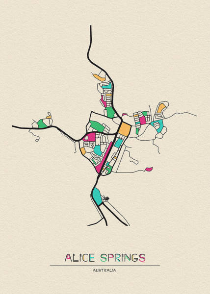Alice Drawing - Alice Springs, Australia City Map by Inspirowl Design