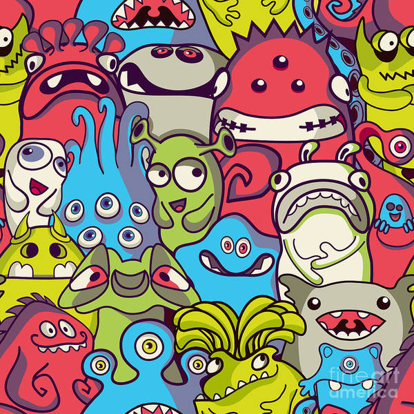 Seamless Wall Art - Digital Art - Alien And Monsters - Seamless Pattern by Trendywest