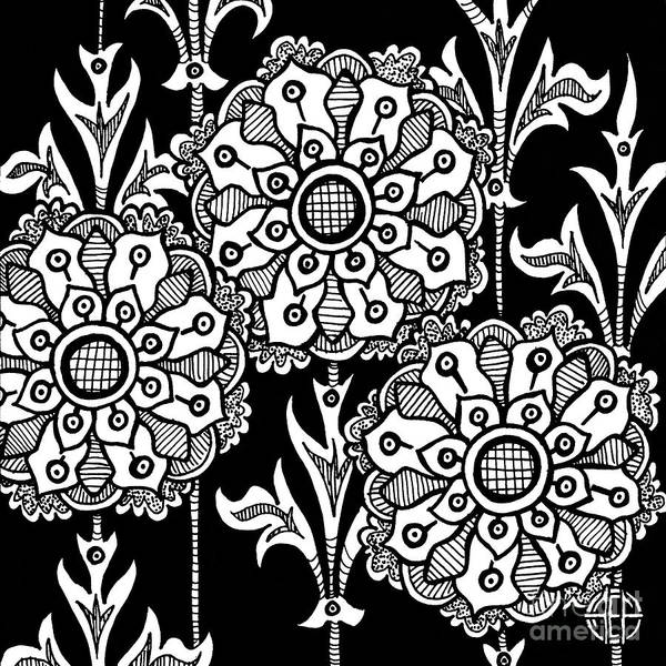 Drawing - Alien Bloom 1 Black And White by Amy E Fraser