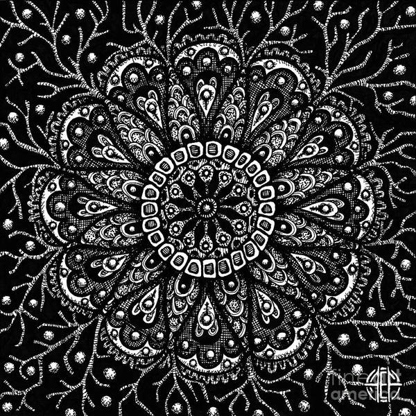 Drawing - Alien Bloom 10 Black And White by Amy E Fraser